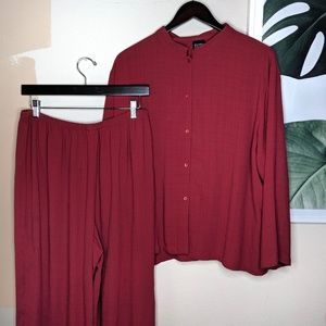Eileen Fisher Red Linen Blend Tunic Pants Set